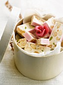 Homemade rose water-flavored nougat