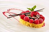 Breton shortbread biscuit with chocolate and raspberries