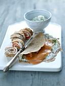 Buckwheat pancake with smoked salmon and cream cheese