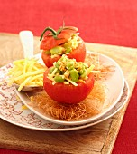 Tomatoes stuffed with broad beans and small sticks of Beaufort