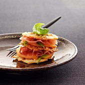 Melon and raw ham Mille-feuille with Port sauce