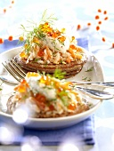Blinis with crab and salmon roe