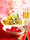Pineapple carpaccio,coriander ice cream