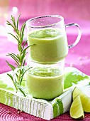 Rosemary-flavored avocado-cucumber smoothie