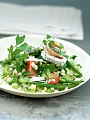 Wheat mixed salad with goat's cheese and herbs