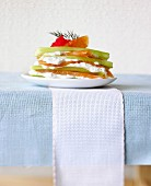 Layered cucumber and salmon