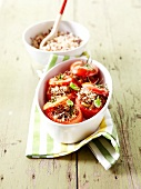 Tomatoes stuffed with two types of meat and wild rice