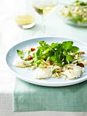 White fish with Riso,watercress,raisins,pine nuts and turmeric
