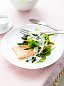 Salmon fillet with asparagus,spinach and caper sauce