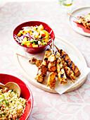 POrk brochettes with tabbouleh,salsa sauce