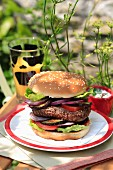 Homemade hamburger with red onions