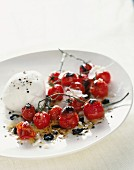 Pan-fried cherry tomatoes with mozzarella and balsamic vinaigrette