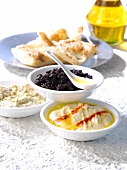 Hummus,tapenade and eggplant caviar