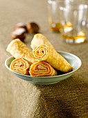 Chestnut,carrot and Pastis rolled pancakes