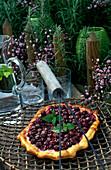 Cherry tart with fresh mint