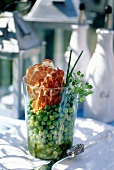 Fresh pea salad with fried Pancetta