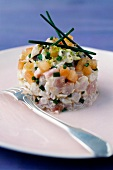 Three fish tartare with chives and ginger