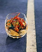 Mussel, ratatouille and Chorizo Verrine