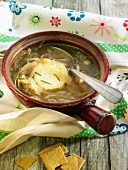 Onion,garlic,rosemary,potato and Gruyere broth