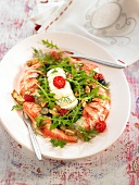 Lobster with raspberries, walnuts and grapes