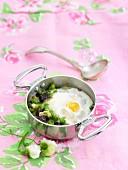 Black Butifarra, pea and egg casserole
