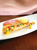 Red mullet fillets with semolina and vegetables