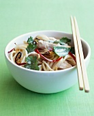 Soba noodle, chicken, red pepper and coriander salad