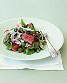 Sweet pea,gren bean and beef salad