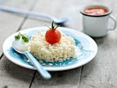 Pasta with cherry tomato,mozzarella and basil sauce