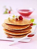 Scottish pancakes with strawberry puree