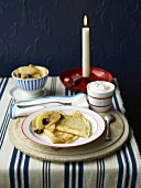 Pancakes with pears and prunes