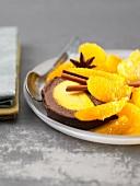 Chocolate and orange ice cream log