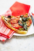 Swiss chard and tomato pizza