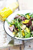Roast duckling and sweet corn salad