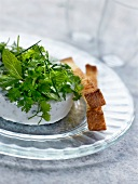 Iced roquefort soufflé, mixed herb salad and toasted brioche