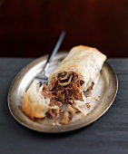 Duck confit and mushroom crisp filo pastry roll