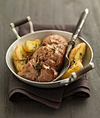 Lamb Gigotin with savory and potatoes