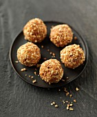 White chocolate and crushed almond truffles