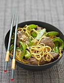 Beef and sugar pea stir-fry