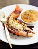 Spiny lobster with Banyuls and ginger sauce,tomato puree