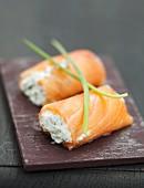Smoked salmon and ricotta nems