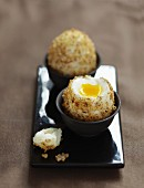 Soft-boiled eggs coated in crushed hazelnuts