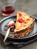 French toast-style Panettone with redcurrant jelly