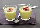 Cream of split pea soup with crisp chorizo