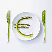 """""""?"""" written with green asparagus on a plate"""