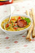Lentil soup with tomatoes and chorizo