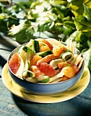 Melon,fennel,grapefruit and shrimp salad