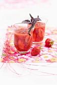 Vanilla-flavored strawberry soup