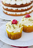 Pistachio and cherry cupcakes