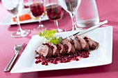 Roast stag with cranberries